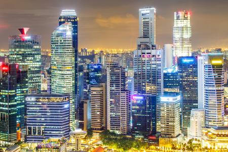 싱가포르 금융 지구 및 비즈니스 건물, 싱가포르 시티의 풍경