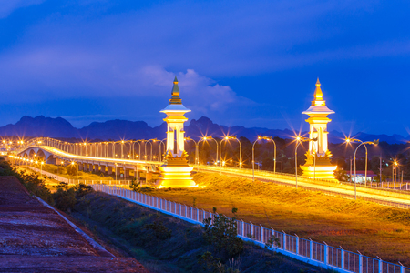 3rd Thai - Lao friendship bridge at twilight time, Nakhon Phanom Province, Thailand