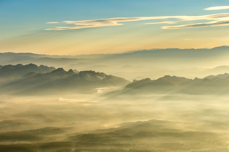 generic location: Layer of mountains and mist at sunset time, Landscape at Doi Luang Chiang Dao, High mountain in Chiang Mai Province, Thailand