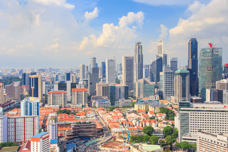 Top views skyline business building and financial district in sunshine day at Singapore City, Singapore Standard-Bild