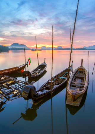 phangnga: Fishing village and sunrise at Samchong-tai, Phangnga, Thailand Stock Photo