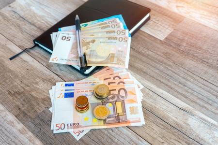 Money euro coins and banknotes, money concept Stock Photo
