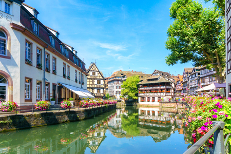 the little venice: Traditional colorful houses in La Petite France, Strasbourg, Alsace, France