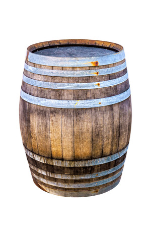 Old wooden barrel for wine with steel ring on white background. Stock Photo