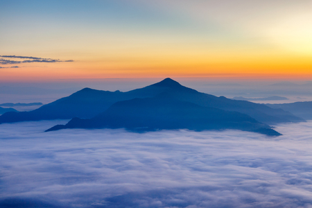 Landscape with the mist at Pha Tung mountain in sunrise time, Chiang Rai, Thailand.