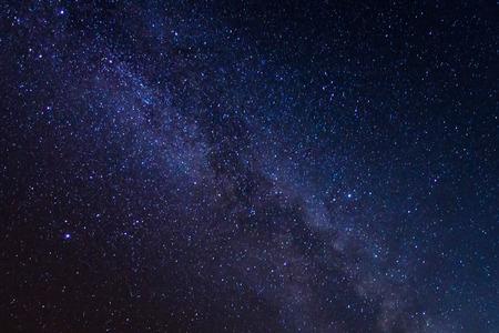 Voie lactée avec les étoiles et la poussière de l'espace dans l'univers, Photographie longue exposition, avec grain