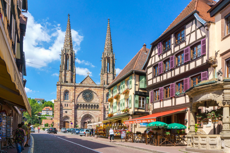 Obernai, France - July 17, 2017: Traditional colorful houses in Obernai city - Alsace France