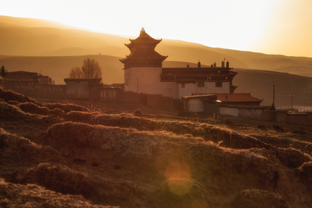 Silhouette image chinese temple or tibet style and landmarks public place in Ganzi, Sichuan, China