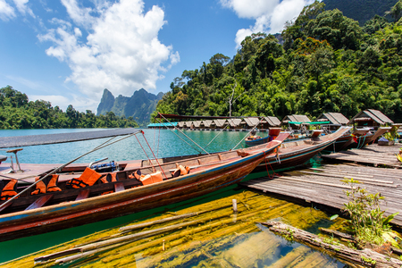 Travel by small boats, Ratchaprapha dam area in Surat Thani province, Thailand.
