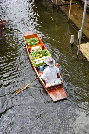 Damnoen Saduak Floating Market near Bangkok in Thailand Stock Photo