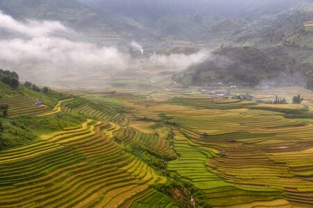 Beautiful landscape green terraces rice field at Mu Cang Chai, Vietnam