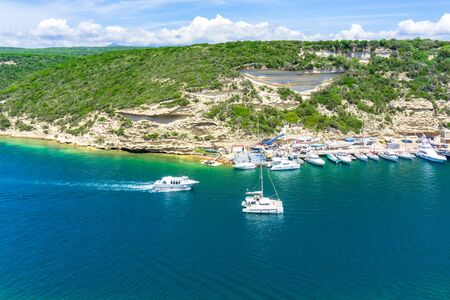 View of Ostriconi beach with beautiful sea lagoon, Corsica island, France 스톡 콘텐츠