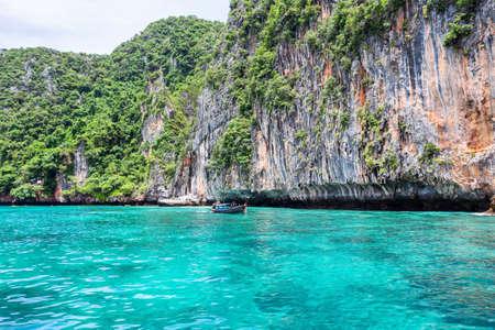 Beautiful scenery view at Pileh Lagoon - Phi Phi Leh Island in sunshine day, Krabi Province, Thailand