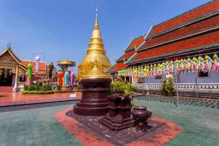 Colorful Lamp Festival and Lantern in Loi Krathong at Wat Phra That Hariphunchai, Lamphun Province, Thailand Redactioneel