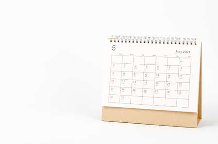 May month, Calendar desk 2021 for organizer to planning and reminder on white background. Business planning appointment meeting concept