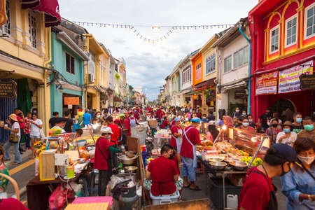 Street food market at Thalang Road in Phuket Town. Each Sunday at the end of the day a huge street food market takes place at Thalang Road till late in the night. November 22, 2020.