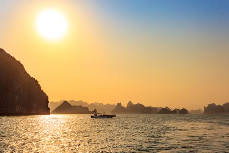 Golden light in Ha long, sunset time