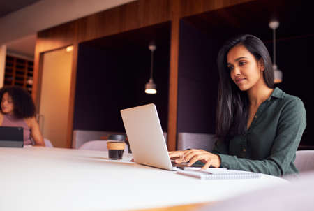 Businesswoman Working On Laptop At Socially Distanced Meeting In Office During Health Pandemic
