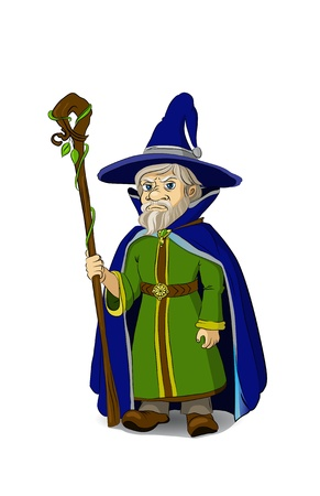 Gloomy Cartoon Wizard with staff   Stock Illustratie