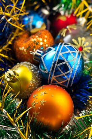 Composition of colored Christmas balls photo