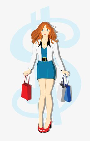 shopping cartoon: The beautiful young readhead girl with shopping Bags Illustration