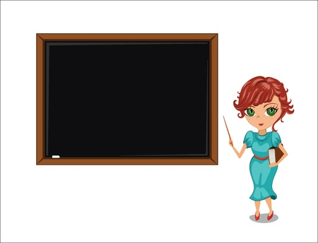 Teacher woman near blackboard  Vector illustration  Vector
