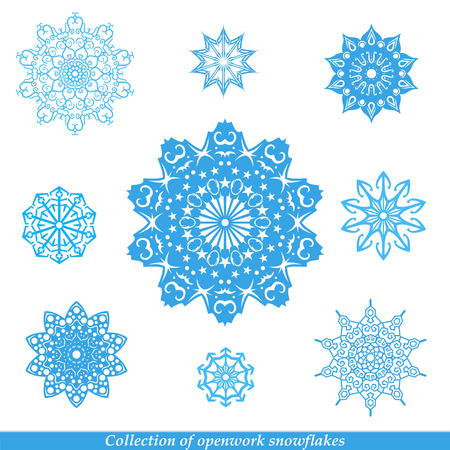 snow crystals: Set of vectors snowflakes.Vector illustration.