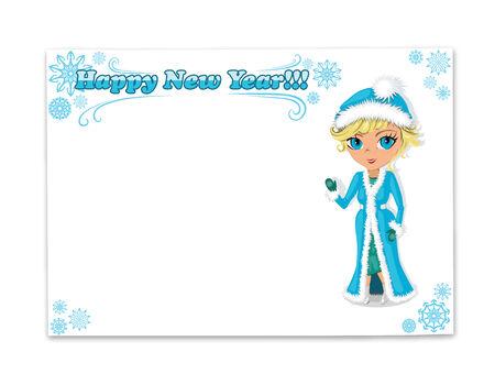 snow maiden: New year postcard
