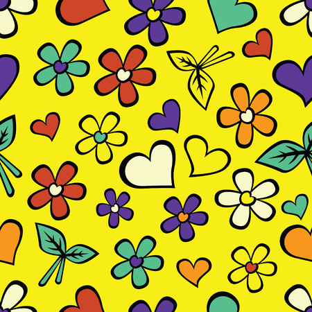 Cartoon  seamless texture  with hearts. Vector