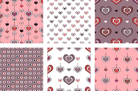 Vintage stylish textures with hearts. Vector