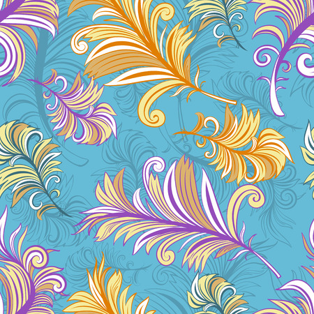 Vintage vector seamless pattern with colored abstract feathers.  Vector