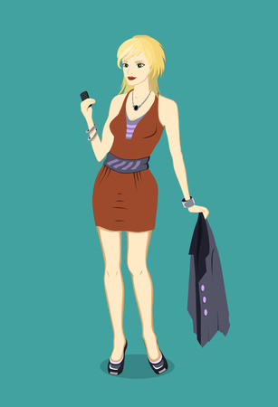 call girl: Vector illustration of a stylish blonde with a phone in her hand and a jacket
