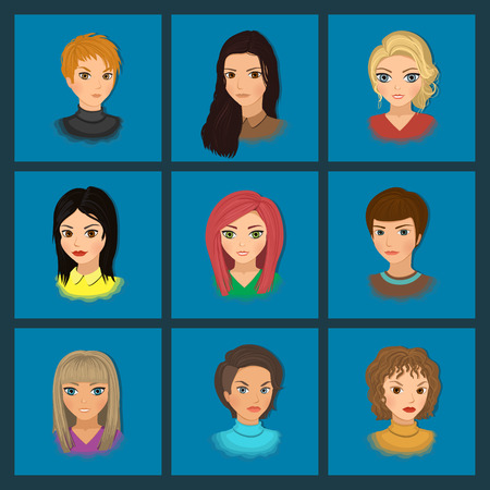 dark haired woman: Set of cute girls with different hairstyles and color. Vector illustration Illustration