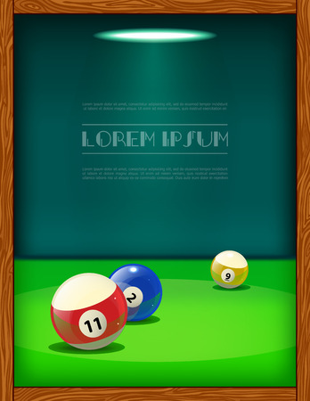 Cool billiard poster with colorful balls on the table. Vector