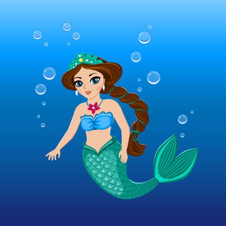 Cute mermaid girl under the sea. Vector illustration eps 10. Vector
