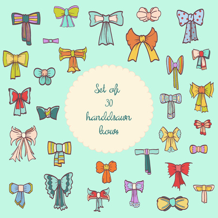 Set of 30 handdrawn vintage bows with ribbons. Vector illustration eps 10
