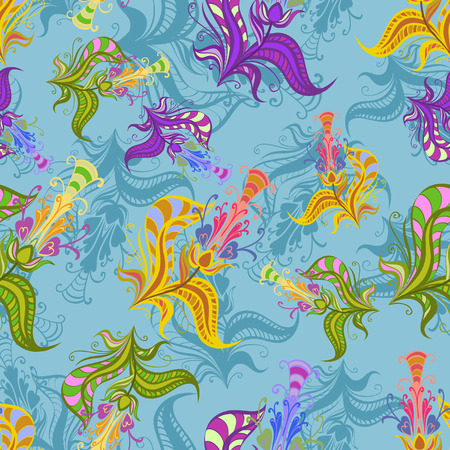 Vintage pattern of colored  spring flowers. Vector illustration eps 10. Vector