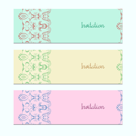 wickerwork: Set of 3 invitation cards with colorful lace. The sample design for ads. Vector illustration eps 10.