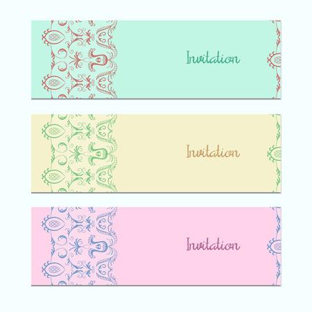 Set von 3 Einladungskarten mit bunten Spitzen. Der Stichprobenplan für die Anzeigen. Vektor-Illustration eps 10. Standard-Bild - 37984962