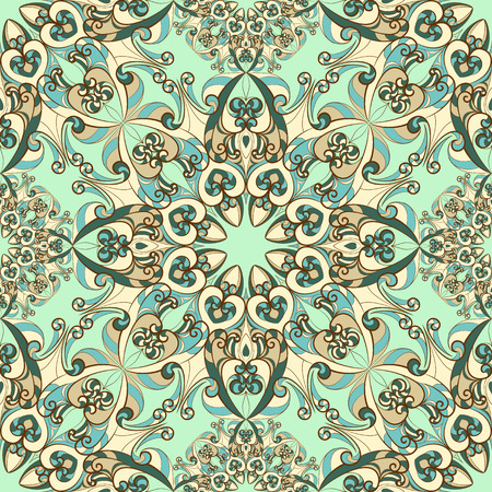 Vintage pattern with ethnic ornament. Can be used for textiles, book design, pattern fills, web page background, surface textures, scrapbooking. Vector illustration eps 10. Stock Illustratie