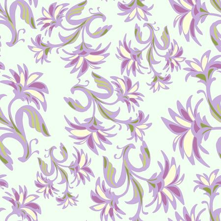 Sierlijke naadloze patroon met abstracte bloemen. Russische ornament. De steekproef voor het ontwerp van inpakpapier, kaarten, corporate identity, textiel. Vector illustratie eps 10 Stockfoto - 39371097