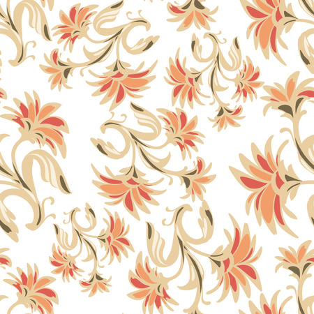 Ornate seamless pattern with abstract flowers. Russian ornament. The sample for design of wrapping paper, cards, corporate identity, textiles. Vector illustration eps 10 Stock Illustratie