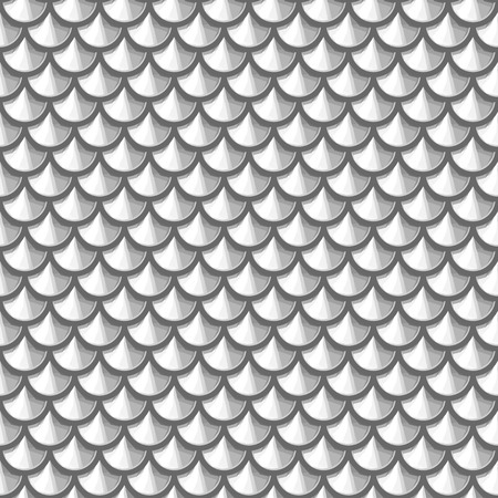 Seamless grayscale river fish scales. Dragon scale. Simple background for design. Vector