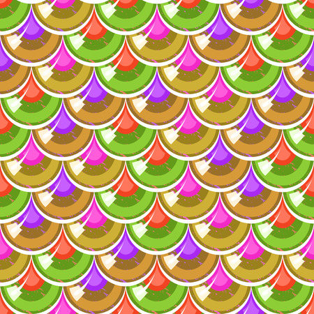 Seamless colorful shiny river fish scales. Dragonscale. Brilliant background for design. Illustration
