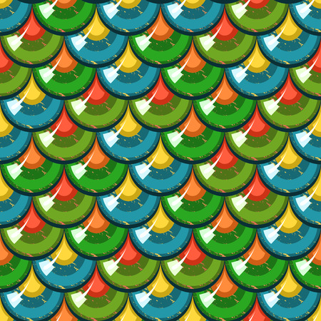 Seamless colorful shiny river fish scales. Dragonscale. Brilliant background for design. Vector illustration
