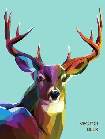 dieren: Kleurrijke herten illustratie. Achtergrond met wilde dieren. Lage poly hert met horens. Stock Illustratie