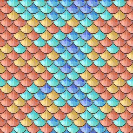 Escamas poligonales colorido inconsútil de los pescados de río. Una muestra de peces escalas patrón de diseño de packaging, identidad corporativa o tejido. Vector ilustración eps 10. colores RGB.