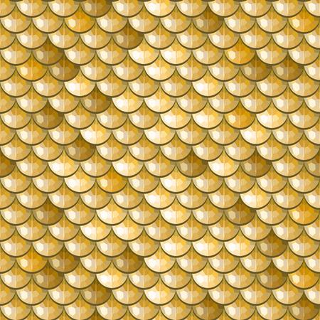 Escamas de pescado de río poligonal oro inconsútil. Una muestra de peces escalas patrón de diseño de packaging, identidad corporativa o tejido. Vector ilustración eps 10. colores RGB.