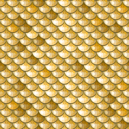Seamless gold polygonal river fish scales. A sample of fish scales pattern for packaging design, corporate identity or tissue. Vector illustration eps 10. RGB colors. Illustration