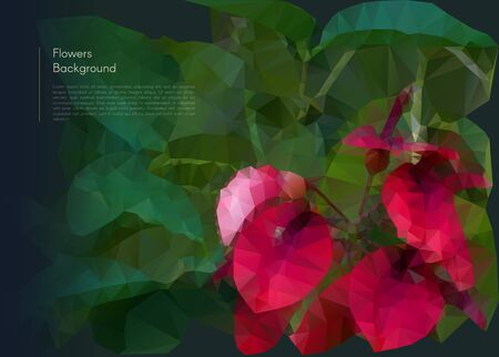 Vector illustration of abstract background for design. Polygonal Mosaic. Flower polygonal mosaic. Triangular low poly style. Template for poster. Flower polygonal mosaic. Flower close-up.